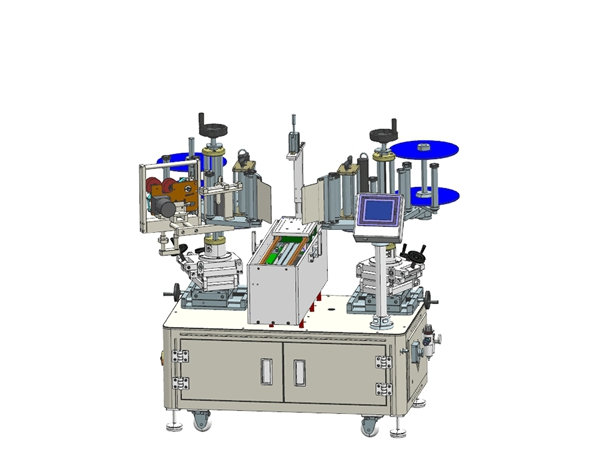 Semi-automatic double side labeling machine + printing machine