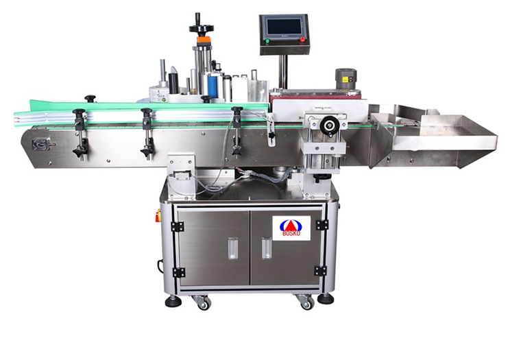 How does the vertical labeling machine work
