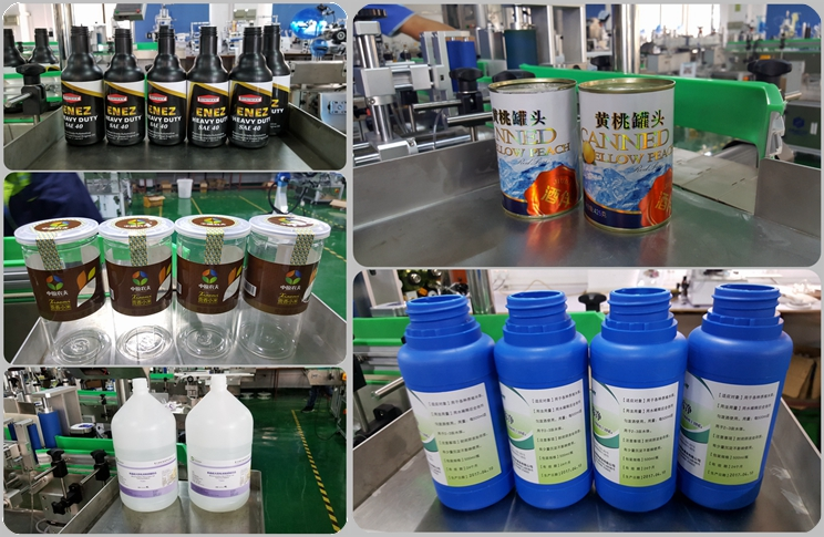 Full automatic double head round bottle labeling machine product application case